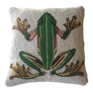 Vintage Hooked Rug Frog Pillow