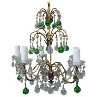 Italian Gilt Metal & Crystal Chandelier