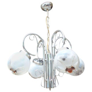 Mid-Century French Blown Glass Light Fixture
