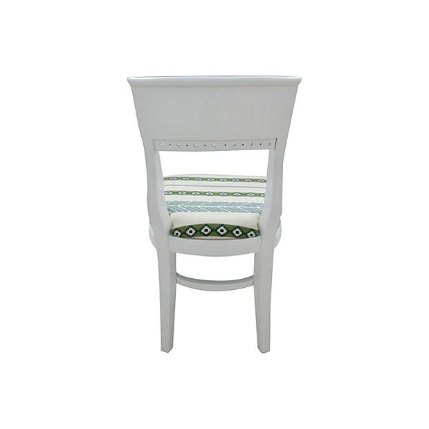 White Morrocan Stripe Dining Chairs, S/6 - Image 4 of 6