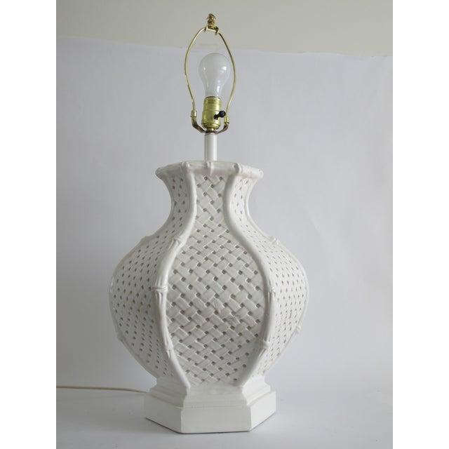 Image of Bamboo Style White Ceramic Table Lamp
