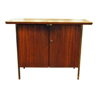 Small Mid-Century Walnut & Brass Bar