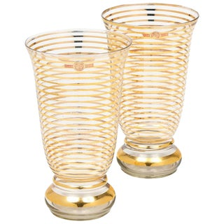 French Art Deco Gilt Stripe Crystal Vases- A Pair