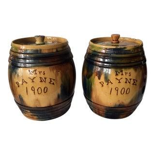 Circa 1900 English Pottery Barrel Jars - A Pair