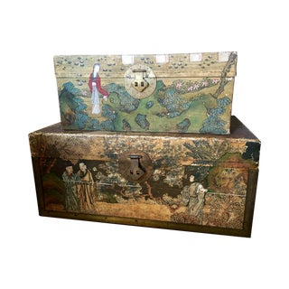 Antique 1850s Chinese Handpainted Pigskin Chest