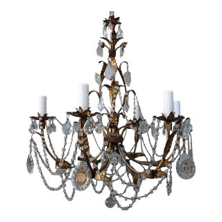 Italian Crystal & Gilt Metal Chandelier