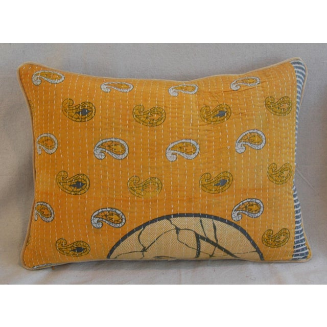 Custom Boho-Chic India Kantha Textile Pillows - A Pair - Image 4 of 10