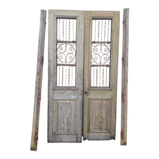 Antique French Iron Grill Door Rustic Farmhouse Natural Doors - a Pair