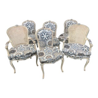 Louis XV Style Dining Chairs With Graphic Upholstery - Set of 6