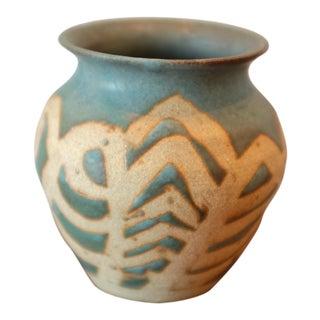 Patterned Handmade Blue Studio Pottery Vessel