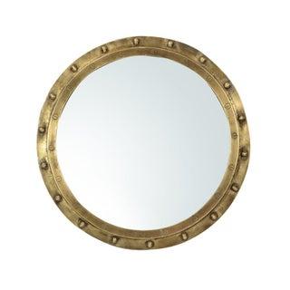 Industrial Brass Rivet Framed Port Hole Mirror