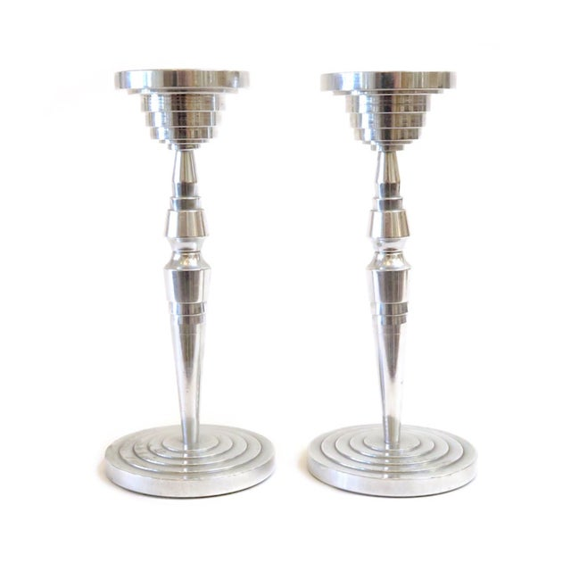 Image of Industrial Silver Candlesticks - a Pair