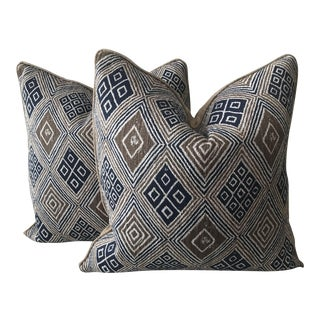 Geometric Linen Fabric Pillows - A Pair