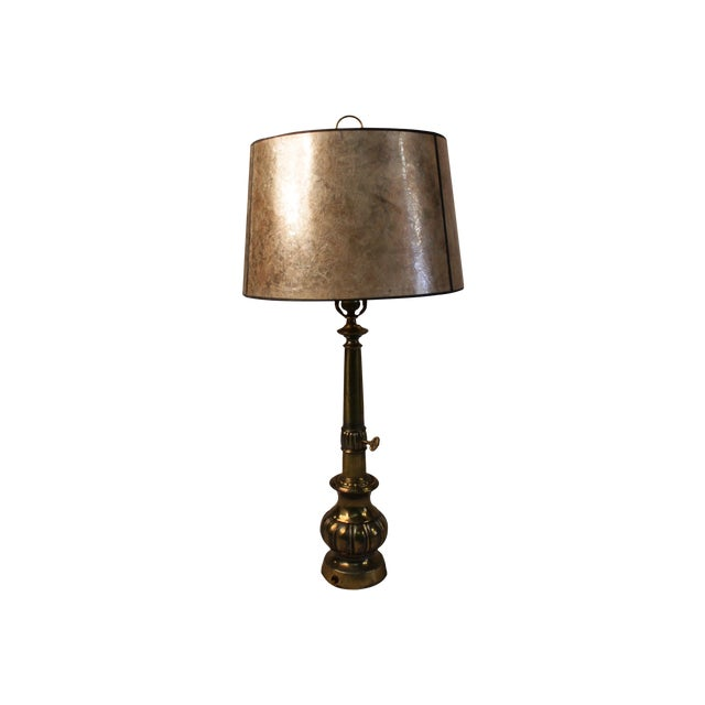 Silvery Brass Lamp With Mica Shade - Image 1 of 5