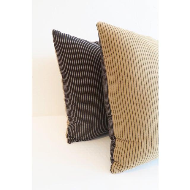 Custom Navy & Tan Stripe Pillows - A Pair - Image 4 of 5