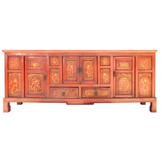 Rustic Chinese Red & Gold Flower Cabinet