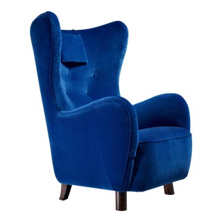 Mogens Lassen Attributed Wingback Lounge Chair, Denmark, 1940s