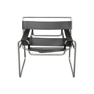 Mid-Century Modern Wassily Style Leather & Chrome Chair
