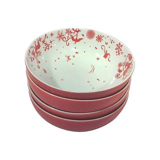 Red & White Porcelain Stag Bowls - Set of 4
