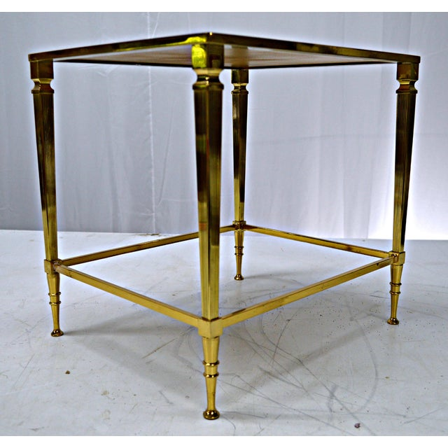 Neoclassical Brass & Glass Auxiliary Side Table - Image 8 of 10