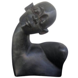 African Carved Ebony Wood Bust