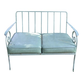 Shabby Chic Teal Iron Outdoor Settee and Chair