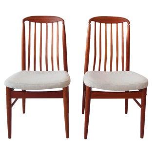 Vintage Mid-Century Modern Teak Dining Chairs - A Pair