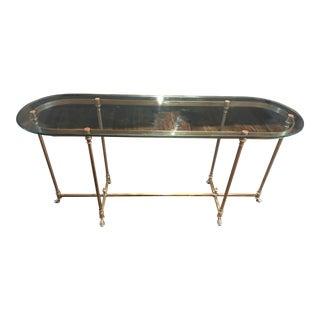 Vintage Maison Jansen Brass Glass Top Console Table