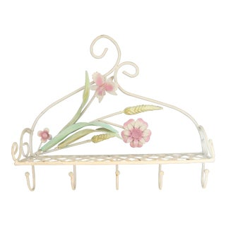 Vintage Italian Shabby Chic Tole Raised Floral Shelf With Hooks