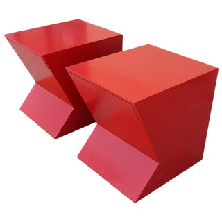 Cherry Red Lacquer Geometric Shaped Nightstands - A Pair