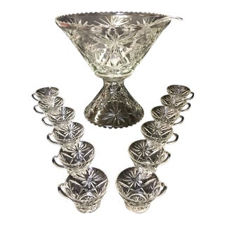 1960s Starburst Glass Punch Bowl and Ladle with Cups - Set of 12