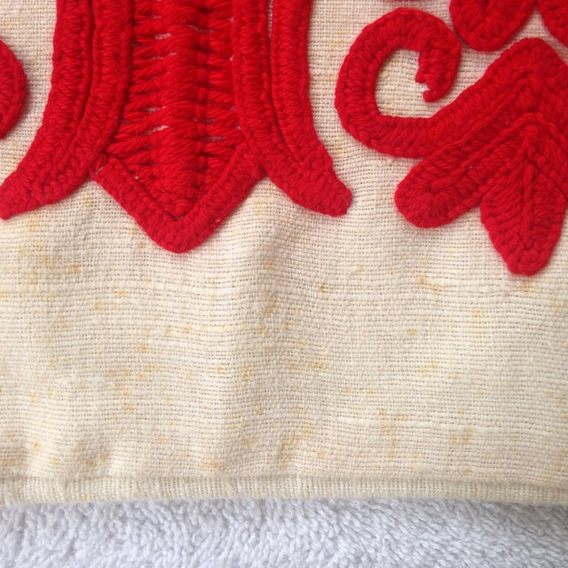 Vintage Red Embroidered Linen Pillowcase - Image 4 of 6