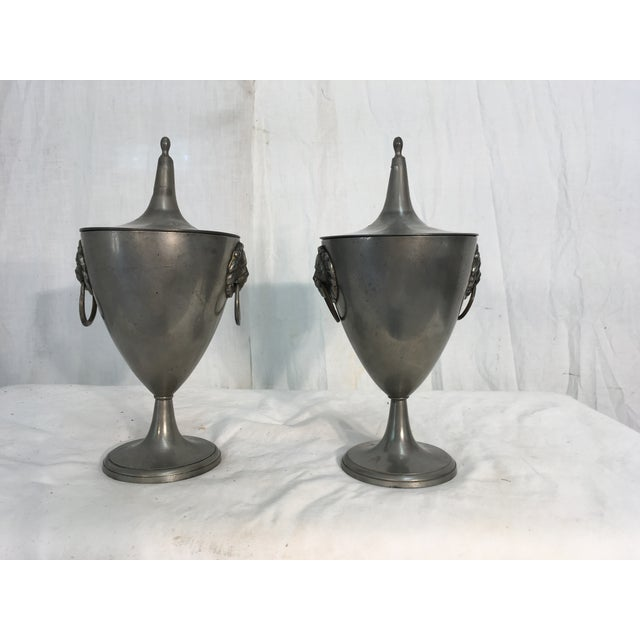 Image of 19th C. English Pewter Urns - A Pair