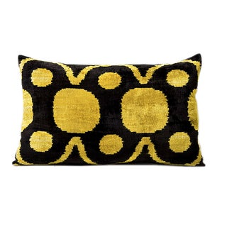 Black & Yellow Silk Velvet Pillow