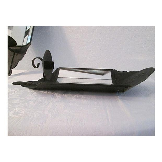 Black Mirrored Candle Wall Sconces - A Pair - Image 6 of 8