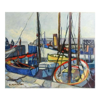 Modernist French Harbor Oil Painting
