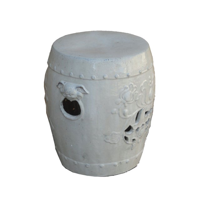 Chinese Clay White Lotus Garden Stool/Ottoman - Image 2 of 7