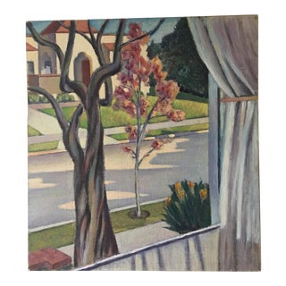 Window View Oil on Board Painting