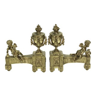 Pair of 19th century French Bronze Chenet