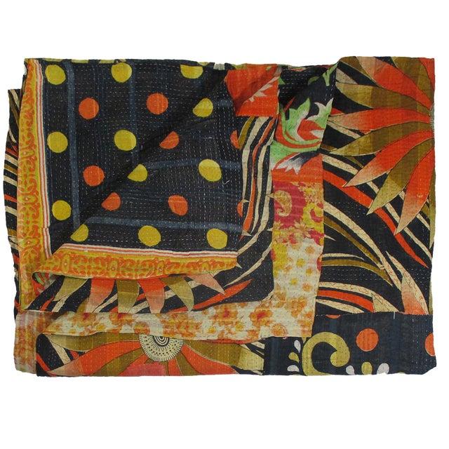 Vintage Mod Orange & Navy Kantha Quilt - Image 1 of 2