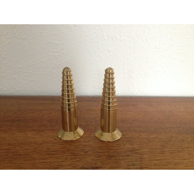 Image of Vintage Brass Salt & Pepper Shakers - Pair
