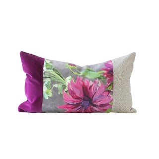 Purple and Gray Designer Down Pillow