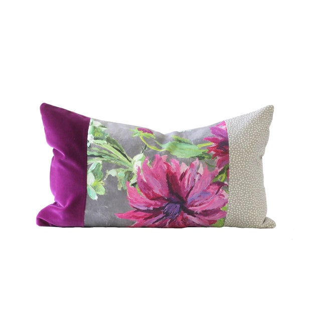 Purple and Gray Designer Down Pillow - Image 1 of 2