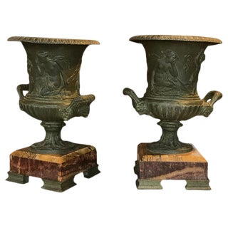 Vintage Urns on Marble Bases - A Pair