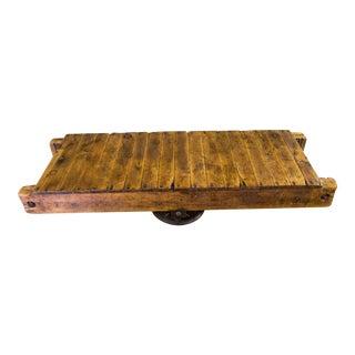 Antique Industrial Railroad Cart Coffee Tea Table Rustic on Original Wheels