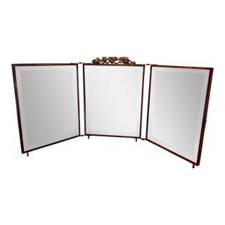 Vintage Brass TriFold Vanity Mirror