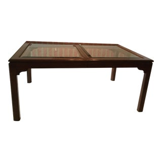 Ethan Allen Glass Top Extension Dining Table