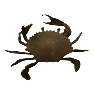 Vintage Brass Crab Hinged Lid Trinket Dish