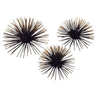 Gold Tipped Sea Urchin Wall Decor - Set of 3