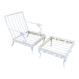 White Day Lily Club Chair & Ottoman